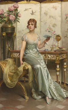Romantic salon portraits painting by Frederic Sulacroix Mode Vintage, Vintage Art, Vintage Ladies, Victorian Art, Victorian Women, Classic Paintings, Beautiful Paintings, Frederic, Illustration Art