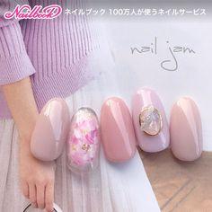 シフォンチーク×天然石nail Instagram→→→@a.nailjam #春 #オフィス #パーティー #デート #ハンド #ワンカラー #フラワー #チーク #マーブル #ミディアム #ピンク #パープル #グレージュ #ジェルネイル #ネイルチップ #nail jam #ネイルブック