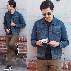 Levi's® Trucker Jacket, H&M Aviator Sunglasses, Levi's® 510 Jeans, Adidas Campus #Men #Street #Style #Catg.R