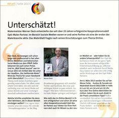 Unterschätzt! Interview in branchenführender Fachzeitschrift, über mein Franchise-System und Social Media Aktivitäten