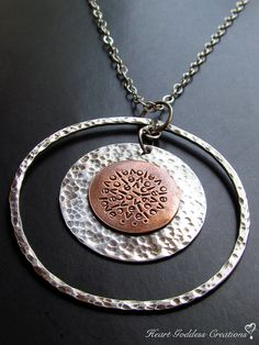 The Long Hammered Silver And Copper LOVE: INFINITE Spiral Affirmation Delicate Chain Necklace by Magda Molina, $155.00