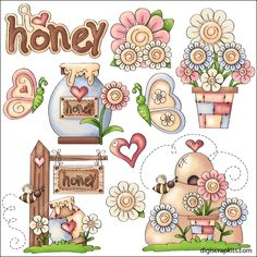 Happy Spring 1 Clip Art Set - Click Image to Close Graphic Illustration, Illustrations, Clip Art, Country Paintings, Happy Spring, Spring Summer, Designs To Draw, Art Designs, Painting Patterns