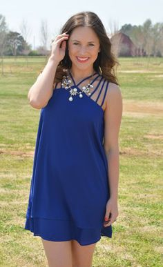 In Between The Lines Dress in Royal Blue