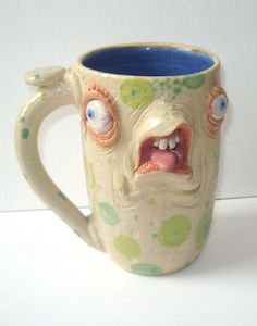 Big Arse Creature Face Mug One of a KInd artist signed JD Cotton 16 oz Making Faces Pottery