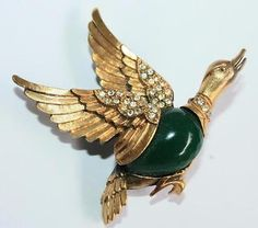 Vintage-Beautiful-Signed-Tortolani-Peking-Glass-Brilliant-Stones-Duck-Brooch
