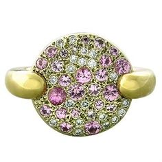 New Pomellato Sabbia 18k Gold Diamond Pink Sapphire Ring