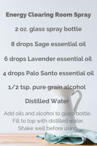 I've got a new essential oil recipe that I think you will love.  It's an energy clearing room spray.  It's a smokeless alternative to the traditional practice of smudging but has the same great results.