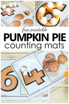 Free Printable Pumpkin Pie Counting Mats-Thanksgiving math activity for preschool and kindergarten #kindergarten #thanksgiving #mathforkids #preschool