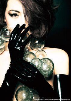 INFAMOUS MAGAZINE #06 Cover Glass ball chain / P.P CRYSTAL Shoulder glove / Kurage  Direction : Kenji Nagasawa Styling : NAO Photography : Takahiro Watanabe Hair & Make-up : Chiaki Hino Model : Erika  http://InfamousMagAndStore.com