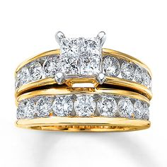 Diamond Bridal Set  3 Carats tw 14K Yellow Gold