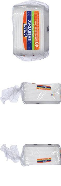 "Disposable Compartment Plates. Soak Proof, Quick And Easy Way To Serve A Variety Of Foods, 9 x12"" Compartment Tray, 40 ct, White.  #disposable #compartment #plates #disposablecompartment #compartmentplates"