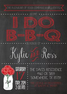 Any Event CHALKBOARD I DO BBQ Shower Mason Jar Couple Barbeque Cookout Red Shower Baby Birthday Family Reunion Graduation Party Invitation