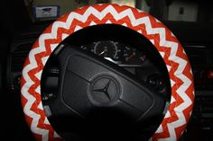 Orange and White Chevron Cover Wheel . Steering by SouthernAplus