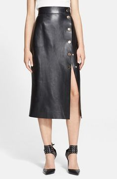 Tamara Mellon Snap Detail Leather Wrap Skirt available at #Nordstrom