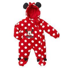 "Disney Girls Red Minnie Mouse Polka Dot Hooded Full Zip Pram - Babies R Us  - Babies""R""Us"
