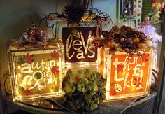 22 Easy Fall Block Craft Design Ideas From Glass - Dlingoo Thanksgiving Crafts, Thanksgiving Decorations, Fall Crafts, Holiday Crafts, Holiday Fun, Halloween Decorations, Fall Decorations, Seasonal Decor, Wedding Decorations