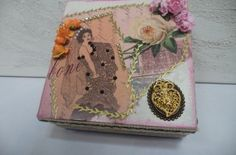 Caixa de Madeira decorada 16x16cm - Vadita Decor, produtos de decoração