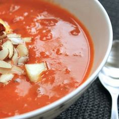 Spiced Coconut Tomato Soup with Brown Rice, Almonds and Paneer