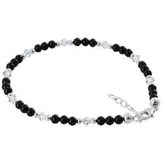 Gem Avenue Sterling Silver Swarovski Crystal Elements Black Onyx Beads and Clear Adjustable Ankle Bracelet -- You can get more details here : Anklets Jewelry