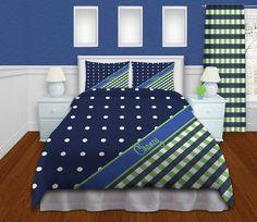 Plaid Duvet Cover Blue Bedding Polka Dot by EloquentInnovations, $164.00