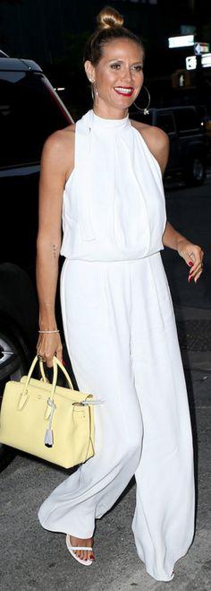 1d760993c3c Who made Heidi Klum s white jumpsuit and yellow handbag  White Wide Leg  Pants