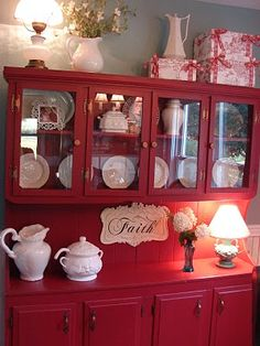 red hutch with dishes on display fabulous color but what about nice bright shabby white too .for my purple dishes. Red Kitchen, Country Kitchen, White Cottage, Cottage Style, Country Decor, Farmhouse Decor, Country Farmhouse, Red Hutch, Home And Deco