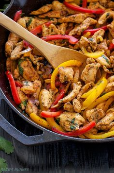 Skillet Chicken Fajitas   Quick, easy, gluten free, & paleo skillet chicken fajitas are perfect for busy nights!