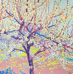Blossoming tree serigraph blossoming garden garden print