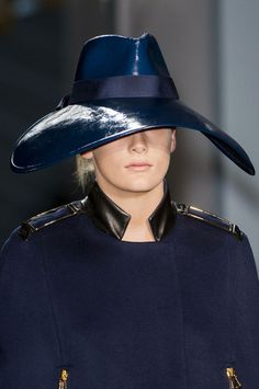 Tod'S Fall 2014 Unusual droopy brim fedora in patent leather? #millinery #judithm #hats