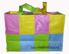 """Made out of 30 recycled plastic bags, Really strong and sturdy.  Perfect for shopping, the beach, picnics, carrying anything!! The real """"green choice"""" Available at www.rematerialise.co.nz or www.fb.com/rematerialise"""