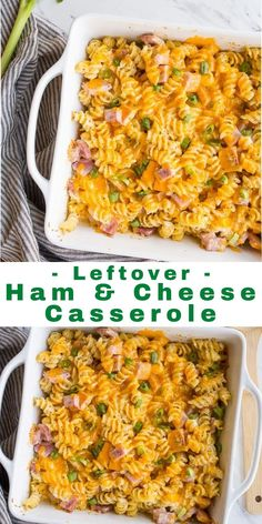 Ham and Cheese Casserole | Dessert for Two | Ham and cheese casserole made with leftover ham. Creamy ham and cheese with noodles. Uses 2 cups of leftover ham, and is baked in an 8x8 dish. #leftovers #repurpose #casserole