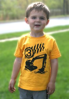 3rd Birthday construction Happy boys Third Party digger Toddler Art Print on Gold Short Sleeve tshirt 1st, 2nd, 3rd, 4th, 5th. $12.00, via Etsy.