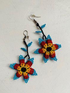 Arte Huichol Crochet Earrings, Etsy Seller, Christmas Ornaments, Create, Holiday Decor, Unique, Jewelry, Indigenous Art, Ear Jewelry