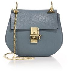 Chloe Drew Small Leather Saddle Crossbody Bag ($1,935) ❤ liked on Polyvore featuring bags, handbags, shoulder bags, apparel & accessories, blue purse, crossbody shoulder bags, blue leather handbags, leather purses and cross-body handbag