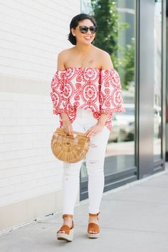 The most unique and beautiful off the shoulder top for the summer. Embroidered Off the Shoulder Top, Cult Gaia Ark Bag, White jeans Outfit.