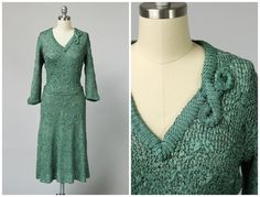 This elegant late 1920s/early 1930s ribbon knit dress is hand-done and made entirely of celadon green silk. The fabric feels amazing on the skin,