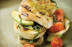 Chef Chris Hastings' Grouper with Tomato, Avocado, and Grilled Vidalia Onions with Basil-Lime Vinaigrette - Alabama Gulf Seafood