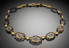 Judith Kaufman--Studio Goldsmith | Diamond Slice Gold Necklace by Judith Kaufman (22kt yellow gold, oxidized silver and faceted diamonds)