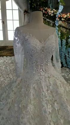 Luxury long sleeve flower crystals beaded wedding dress with court train. Dear valuable customer ,our luxury wedding Luxury Wedding Dress, Used Wedding Dresses, Wedding Dress Sleeves, Long Sleeve Wedding, Princess Wedding Dresses, Bridal Dresses, Wedding Gowns, Beautiful Dresses, Marie