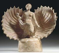 Aphrodite Terracotta Statuette - Goddess with in Shell, Hellenistic period, circa 3rd century BC, at the Christie's collection
