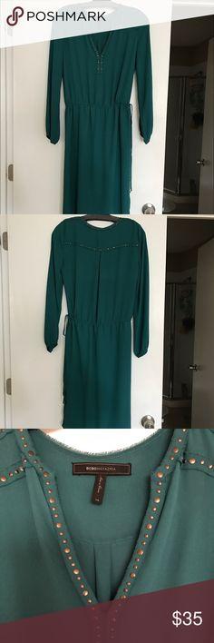 BCBG Women's Bri Stud Detail Drawstring Dress BCBGMAXAZRIA Women's Bri Stud Detail Drawstring Dress in jewelgreen. NWOT BCBG Dresses Midi