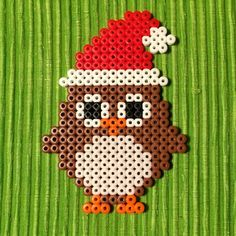 Christmas owl perler beads by petrawettero #owl_crafts_perler_beads
