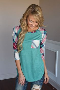 Punch Line Top ~ Teal – The Pulse Boutique Cute Fashion, Look Fashion, Fashion Outfits, Womens Fashion, Casual Outfits, Cute Outfits, Casual Shirt, For Elise, Stitch Fix Stylist