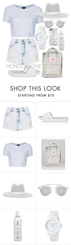 """One Color, Head to Toe"" by ohlizzy ❤ liked on Polyvore featuring Topshop, Fjällräven, Janessa Leone, Christian Dior, Kiehl's and Eos"
