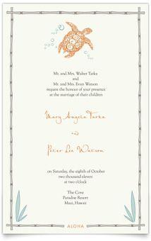 Awwww I love it! Flat Rectangle Wedding Invitations - Hawaiian Sea Turtle