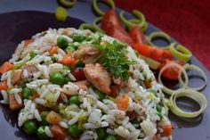 Gombás, zöldséges rizses hús