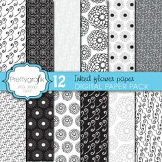 Wedding Floral Digital Paper | Beautiful delicate floral patterns perfect for wedding themes and invitations, elegant parties, photo albums and more black and white.