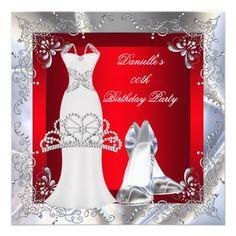Red Silver White Dress High Heel Shoes Tiara Custom Invitations Custom Invitations by Zizzago.com