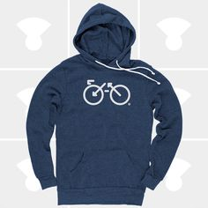 Changing colors! New bike graphic now available as a white graphic on black and navy  hoodies!