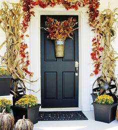 DIY:: Easy fun Fall decorations! Farmhouse front door ready for fall! by @deb rouse schwedhelm rouse schwedhelm Keller Farm